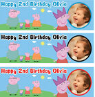 2 x PERSONALISED PHOTO BIRTHDAY BANNER PARTY PEPPA PIG KIDS CHILDREN NURSERY