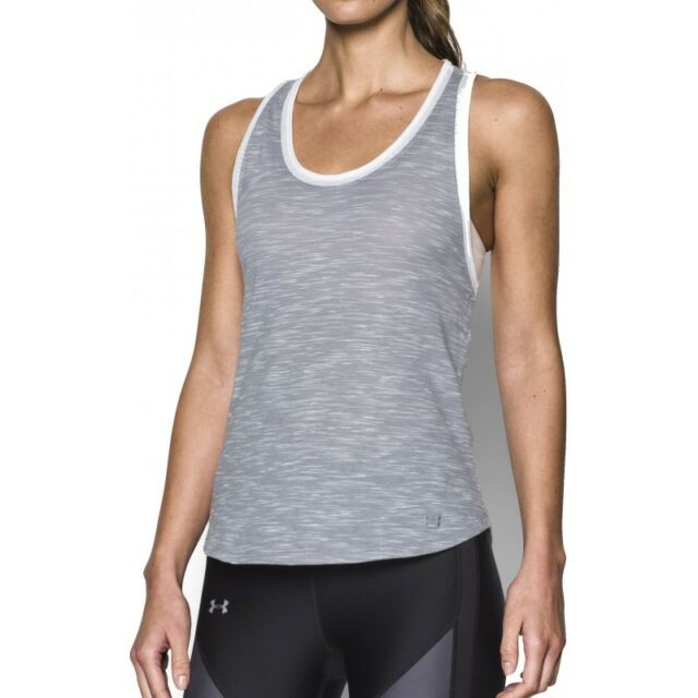 b3388f7a4e503b NWT Under Armour Women s Heatgear UA Fashlete Tank Top Grey White Large New