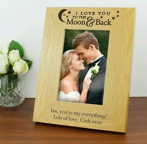 Personalised Wooden 4x6 I Love You To The Moon Back Photo Frame