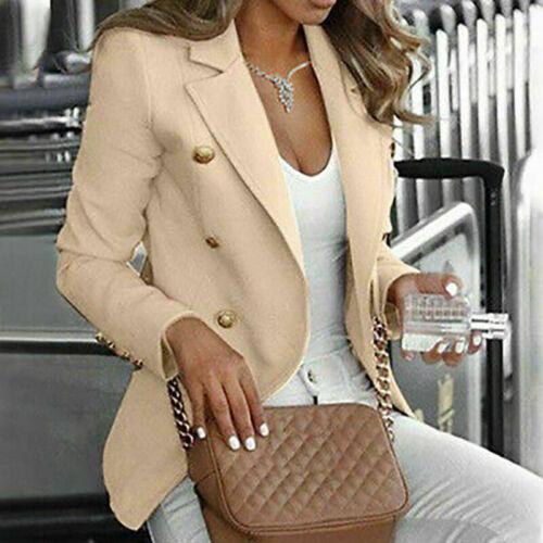 Button Women OL Slim Coat Sleeve Blazer Outwear Suit Fit Long Jacket Work Casual