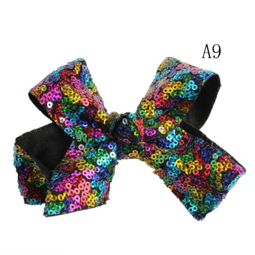 1PC Girls Sequin Hair Bow Glitter Alligator Clips Kids Headwear Accessories UK