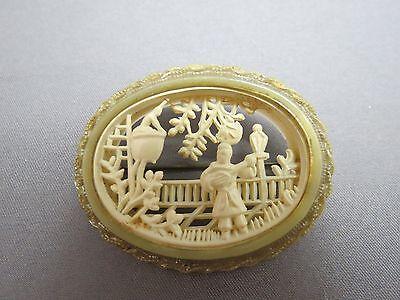 VTG Early Plastic Celluloid Brooch 3D Cut Out Scene Serenade Mandolin Romantic