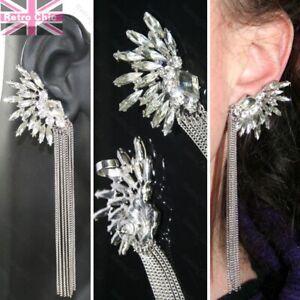 5-034-long-BIG-earrings-CRYSTAL-EAR-CUFF-PAIR-silver-rhinestone-CHAINS-gothic-fairy