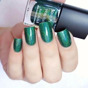 Details about Born Pretty Green Holographic Holo Glitter Nail Polish  Varnish Hologram Effect