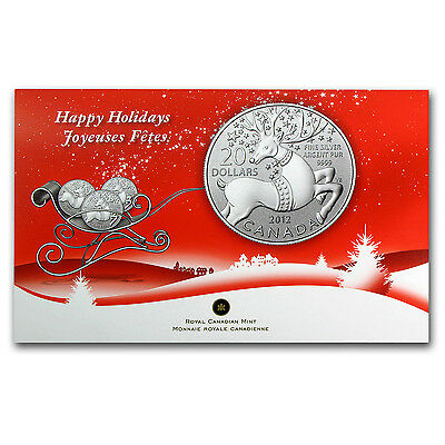 2012 1/4 oz Silver Canadian $20 Coin - Magical Reindeer
