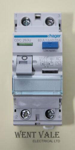 Hager CDC263U 63a 30mA Double Pole AC RCCB New in Box