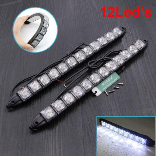 2x 12 LED Car DRL Daytime Running Head Light Daylight Waterproof Signal Lamp