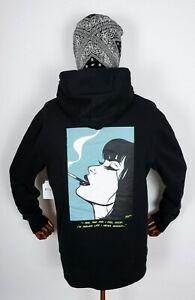 Huf Worldwide Sweatshirt Hooded Pullover Hoodie I Feels Good Black in M