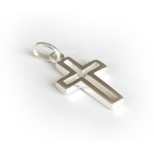 Solid .925 Sterling Silver Cross Crucifix Pendant Charm /& Snake Chain P008