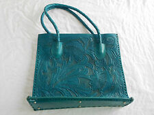 Alexandro Yeo Hand Tooled Leather Purse Tote Shopper Blue Turquoise