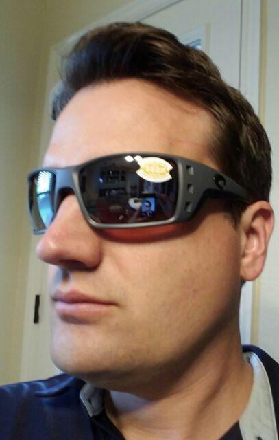 e57e557c47e84 Costa Del Mar Permit Polarized Sunglasses Matte Gray silver 580p Fishing XL