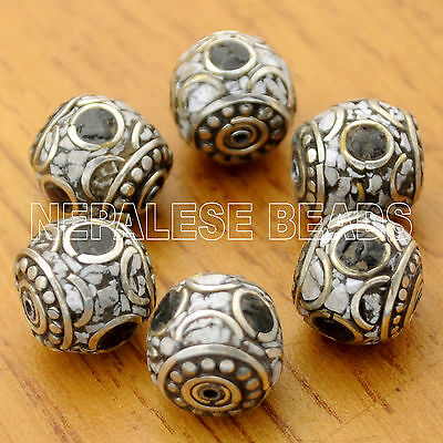 UB2276 Nepalese Artisan Howlite Black White 6 Beads from Nepal by Eksha Limbu