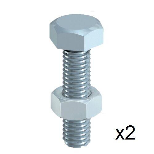TIMpac 12100SNZP 2x TIMco M12 x 100mm H//T Hex Set Bolt /& Nut 2 Pack