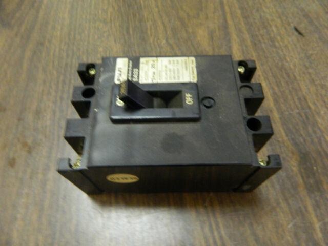 Fuji Auto Circuit Breaker, SA33, 20 Amp, 3 Pole, Used, WARRANTY