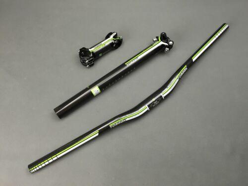 Carbon MTB//Road Bike Flat Riser Bar 31.8mm Handlebar Stems Seatpost Set Green