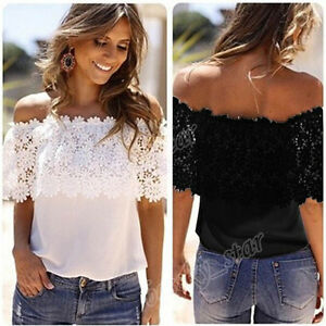 3feea529354f8 Women Off Shoulder Casual Lace Tops Crochet Chiffon Blouse Shirt ...