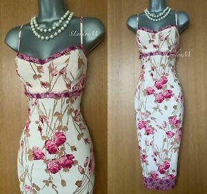 Karen-Millen-UK-12-Pink-Floral-Print-Slip-Style-Strappy-Cocktail-Prom-Midi-Dress