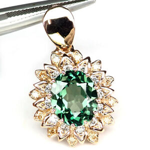 SAPPHIRE-GREEN-OVAL-PENDANT-7-60-CT-925-STERLING-SILVER-ROSE-GOLD-GIFT-WOMEN