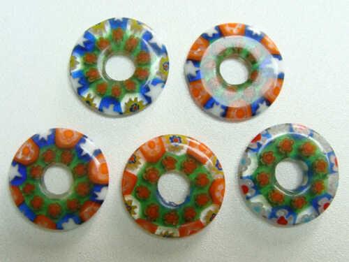 5 Pendentifs verre MILLEFIORI Rond Donut 20mm mix couleurs DIY création Bijoux