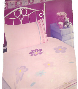 Single Bed Duvet Cover Set Chloe Baby Pink Embroidery Floral Girl