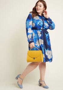 New-Modcloth-Lace-amp-Mesh-Bosses-Who-Brunch-Shirt-Dress-Sz-4X-Blue-Floral
