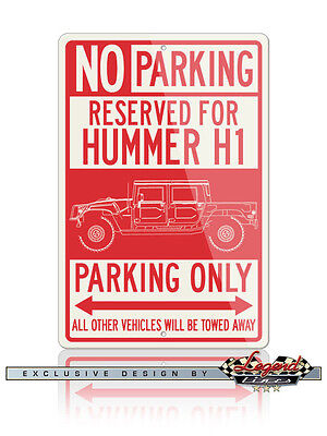 Hummer H1 Pick Up 4X4 Reserved Parking Only 12x18 Aluminum Sign American Car