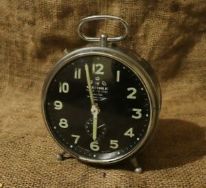 Rare-Wehrle-Commander-Repeat-Alarm-Clock-Vintage-Desk-Clock-Made-in-Germany-79