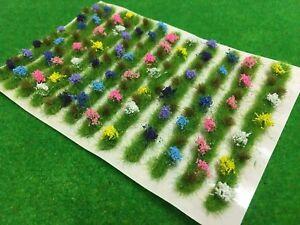 Flower-Borders-Spring-x10-Model-Scenery-Railway-Static-Grass-Tufts-Garden-Green
