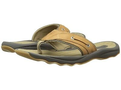 Sperry Top Sider Men Outer Banks Size 9 Thong Sandals Grain Leather 1049667 Tan