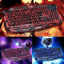 3 Colors Crack Illuminated LED Backlight USB Wired Multimedia PC Gaming Keyboard