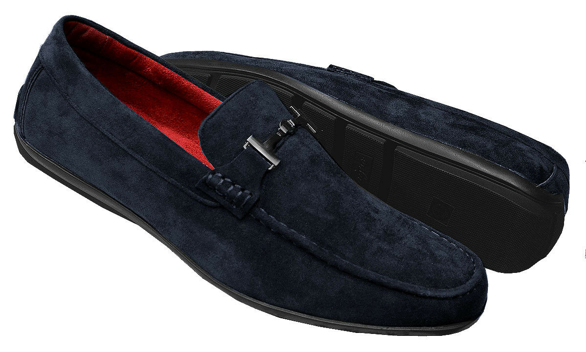 Tayno Merly Navy Vegan Suede Leather Moc Toe Bit Strap Round Toe Driving Loafer