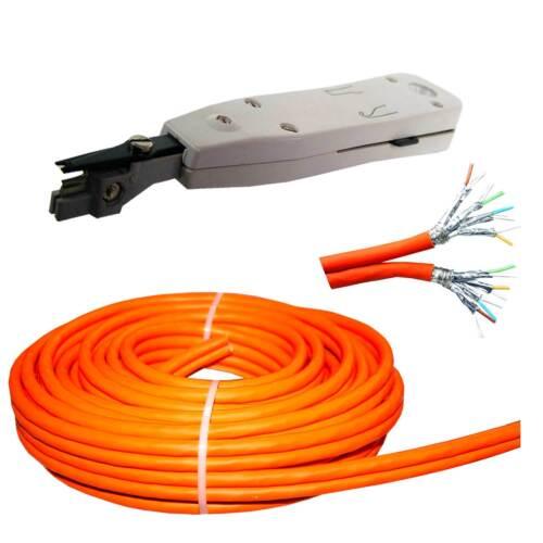 25m Cat.7 TWIN Duplex LSA 1000MHz Verlegekabel Netzwerkkabel Kupfer LAN Gigabit