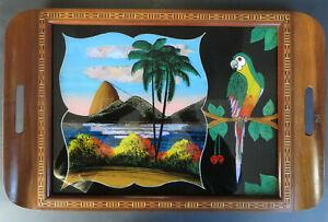 Tablett Holz Unterglasmalerei Schmetterlingsflügel * Zuckerhut Rio Brasilien