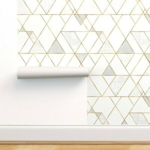 Removable-Water-Activated-Wallpaper-Mod-Triangles-White-Gold-Geometric