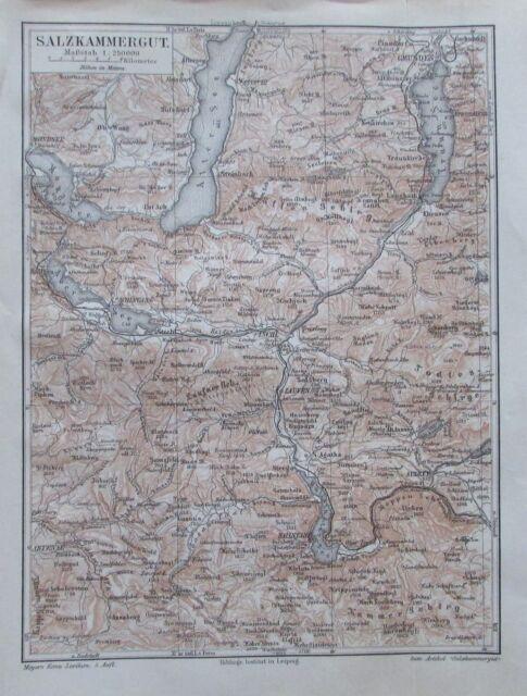 SALZKAMMERGUT 1897 original historische Landkarte Karte Lithographie map