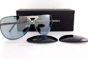 66d9f0ec4e1a New Porsche Design Sunglasses P8678 8678 D Palladium Interchangeable ...