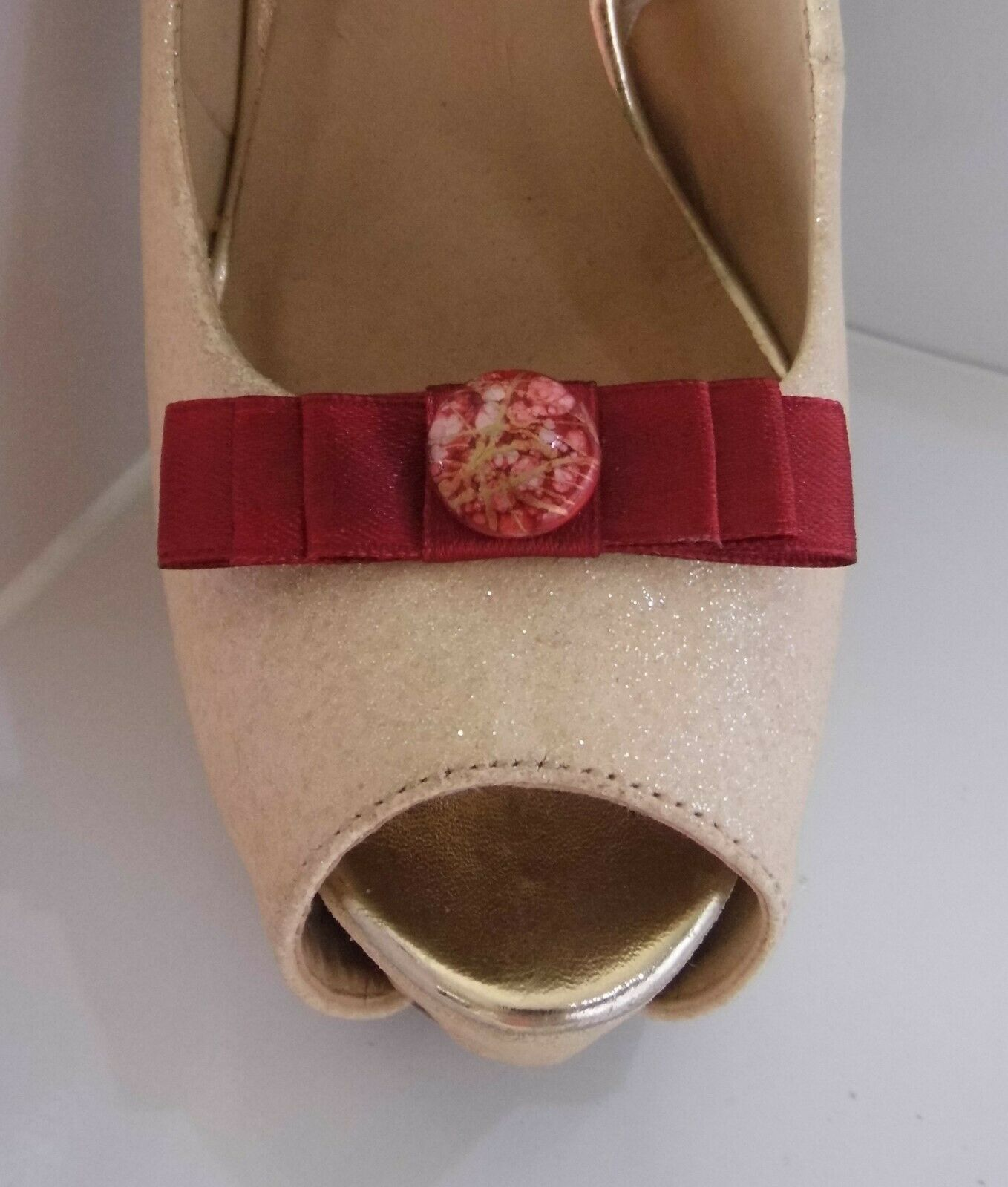 2 Small Burgundy Red Bow Clips for Shoes with Marble Style Button Centre