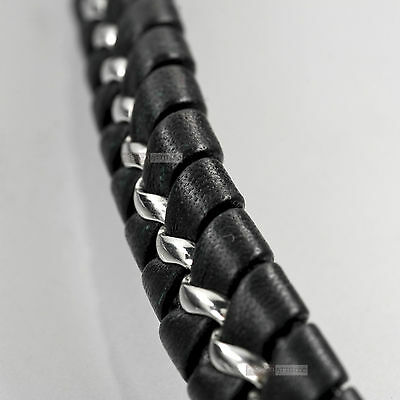 Stainless Steel Genuine Leather Chain Bracelet Silver Black High Polished 20.4cm