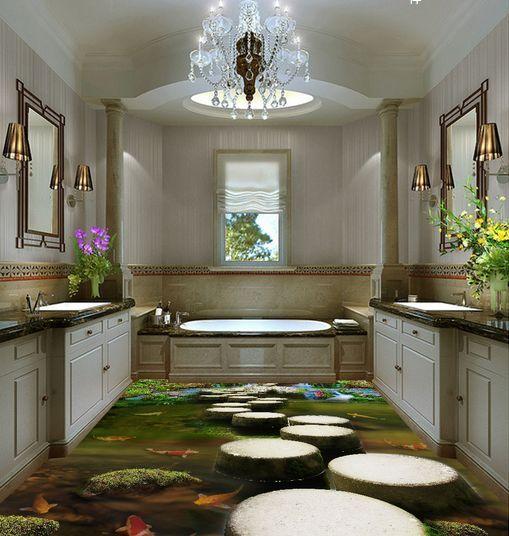 3D 3D 3D lago scenario verde Pavimento Foto Wallpaper Murales Muro Stampa Decalcomania ff0187