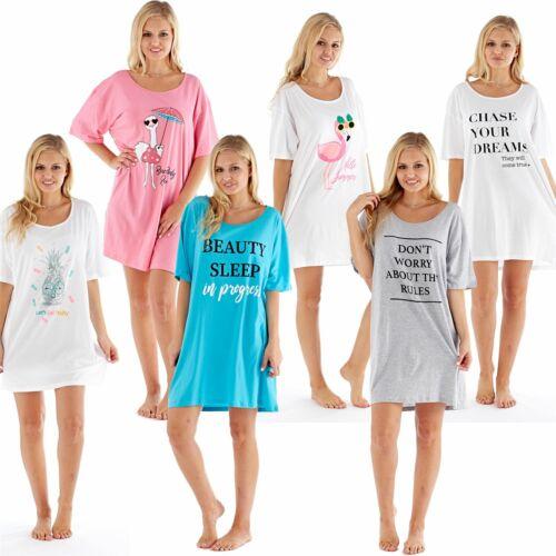 Ladies//Womens Sleepy Tee Shirt Nightshirt Nightie Grey//Pink//White Size 6-18 NEW