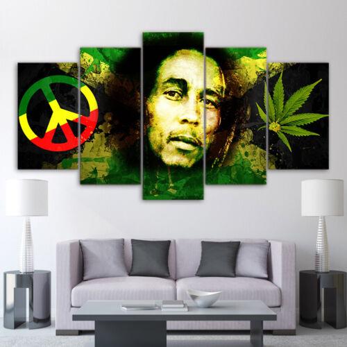 Bob Marley Rasta Reggae 5 Piece Panel Canvas One Love Wall Art Home Decor Print