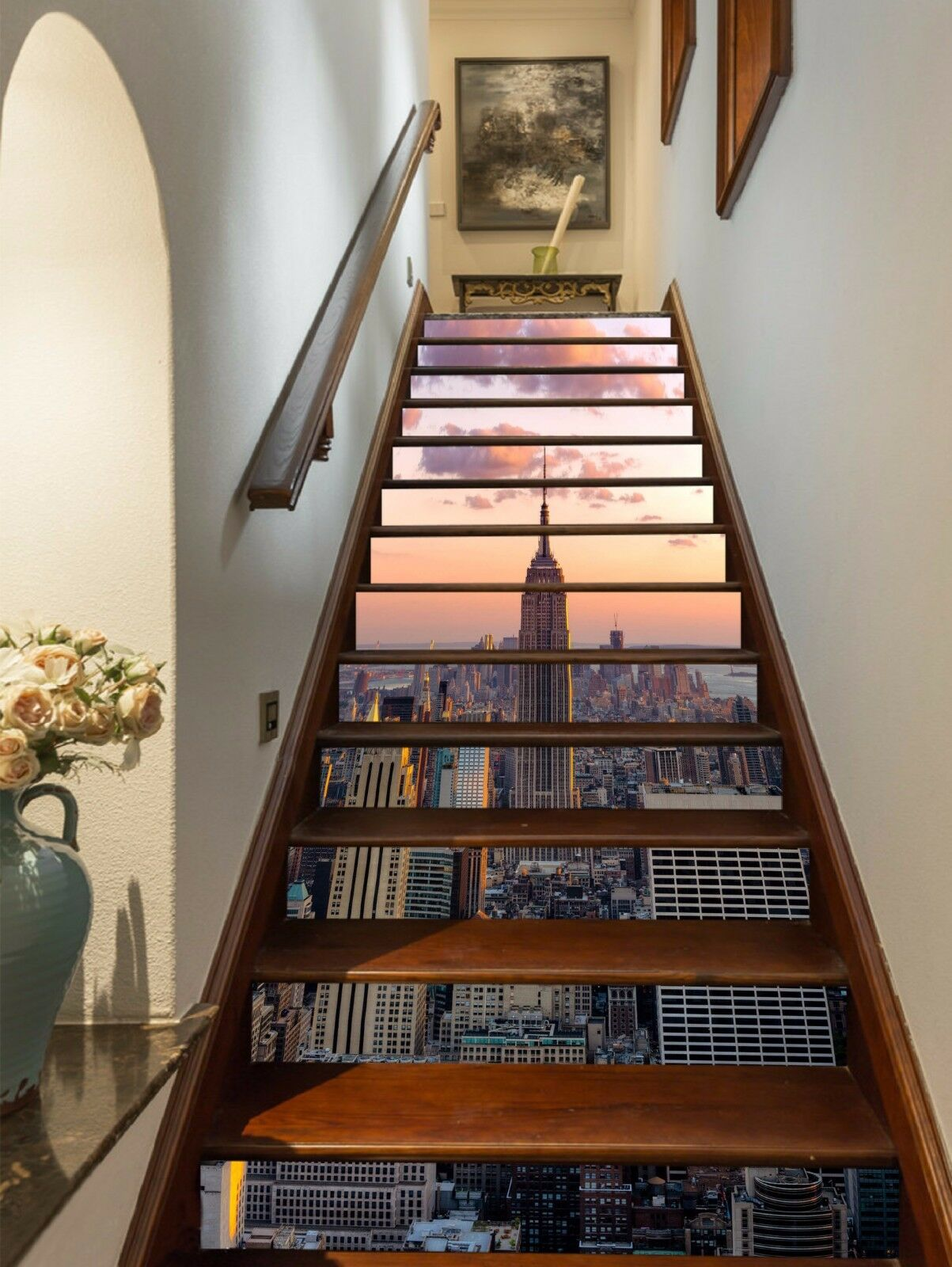 3D New York Sunset Stair Risers Decoration Photo Mural Vinyl Decal Wallpaper UK
