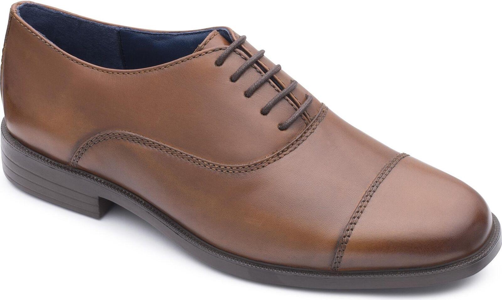 Padders KENSINGTON Mens Leather Wide (G Fit) Oxford Toe Cap Formal schuhe Tan