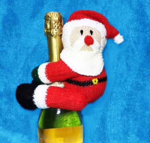 Tejer patrón-Papá Noel//Santa Hugger Cubierta De Juguete De Botella De Vino