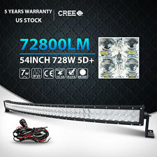 5D 54Inch 728W Curved Led Light Bar Spot Flood Offroad Driving 4WD Truck ATV UTE