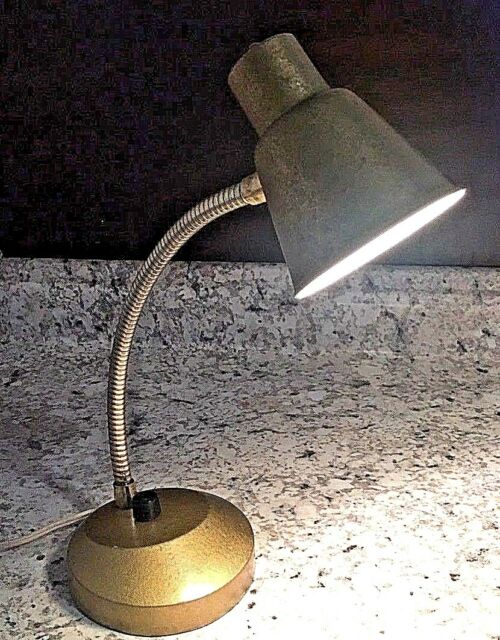 Mid Century MCM Portable Desk Table Lamp Gold Metal Gooseneck Vtg Atomic Bullet