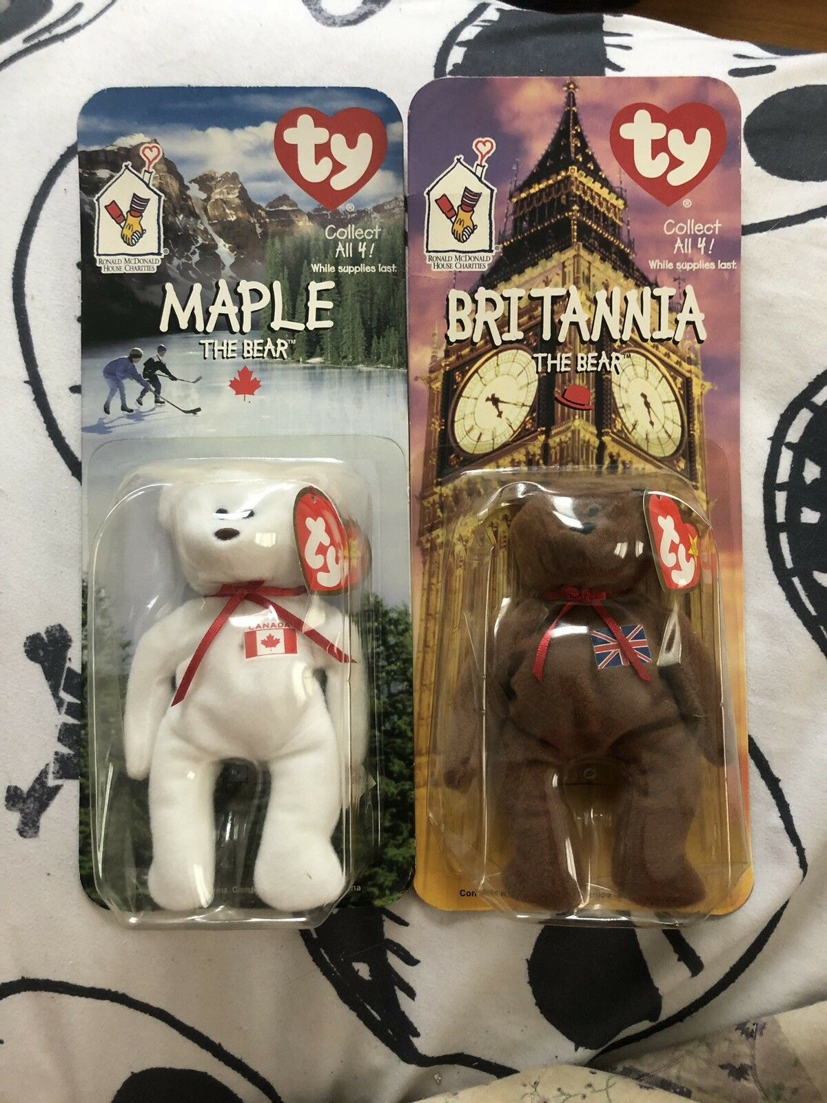 Britannia And Maple TY Mcdonalds Beanie Babies With 1993 And Oakbrook Tush Tags