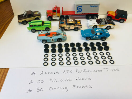 * 50* Tires~NEW~for AURORA~AFX /& MAGNATRACTION~O-RINGS~SILICONE REAR HO Slot Car