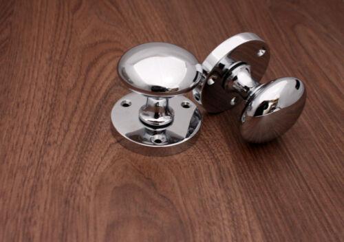 CHROME or SATIN Mortice 54mm Diameter Door Knobs Victorian BRASS