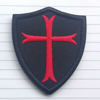 Knights Templar Cross Shield Military Patch Morale Embroidered Sew Iron On New